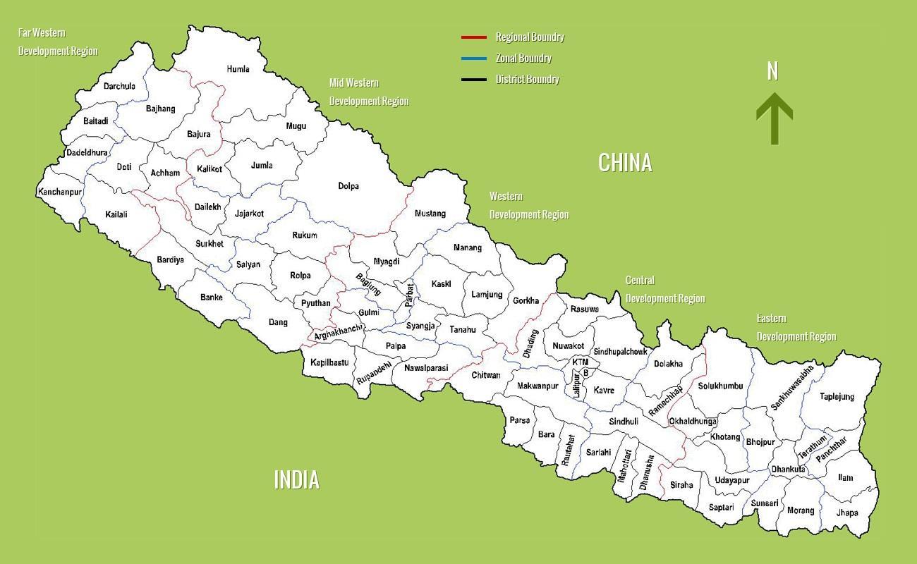 Nepal Kort Et Kort Over Nepal Sydlige Asien Asien