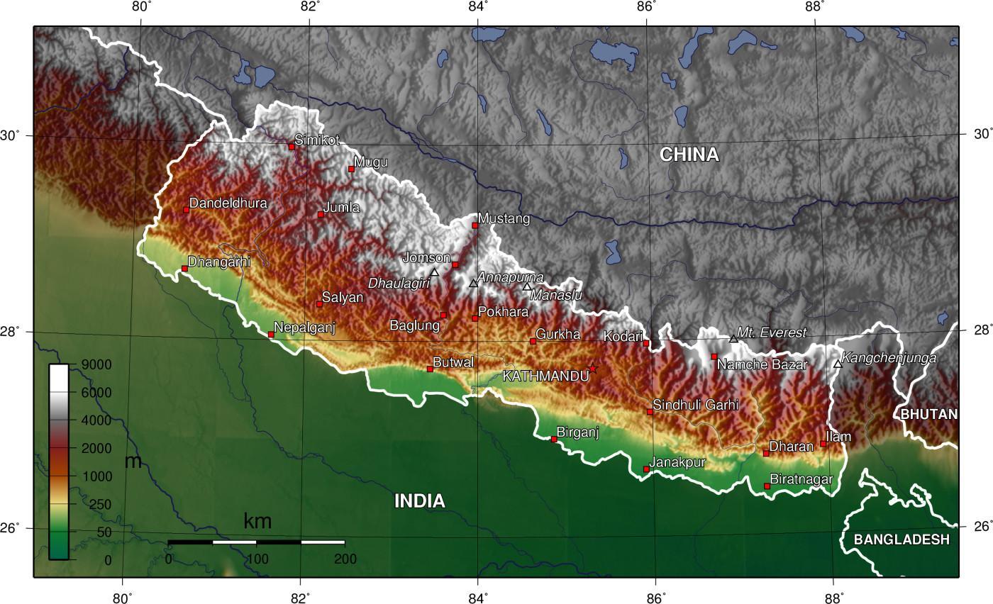 Topo Kort Over Nepal Topografisk Kort Over Nepal Sydlige Asien