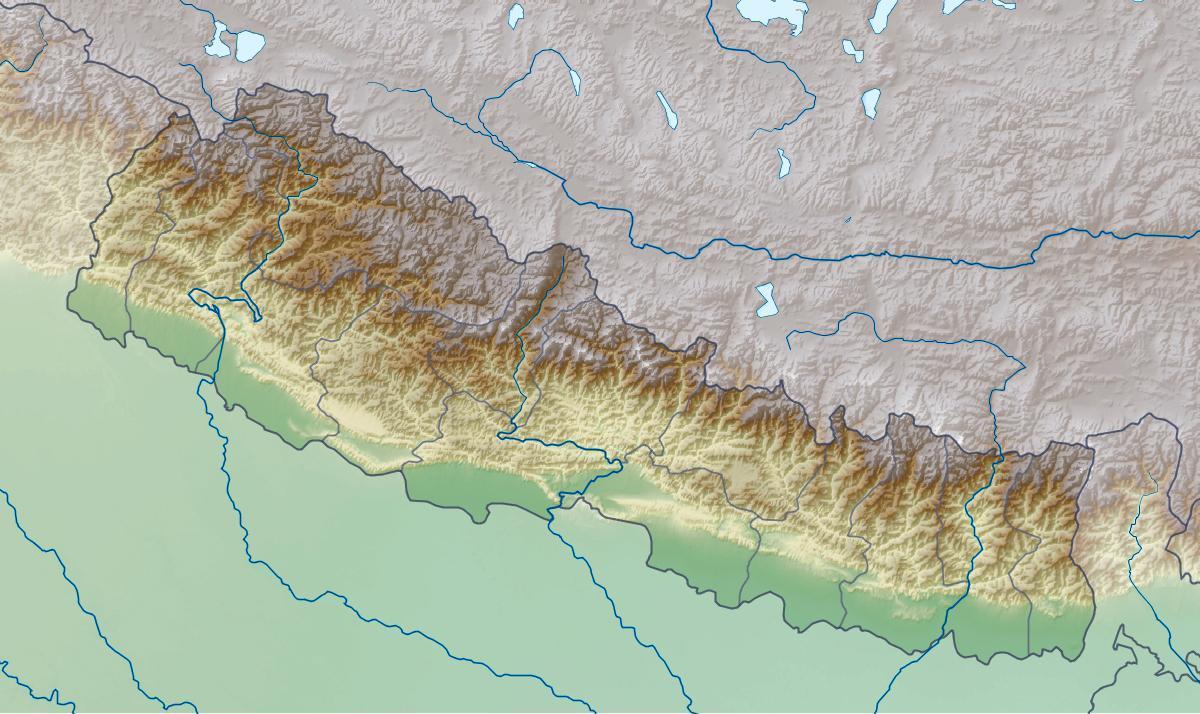 Fysisk Kort Over Nepal Kort Af Fysiske Nepal Sydlige Asien Asien