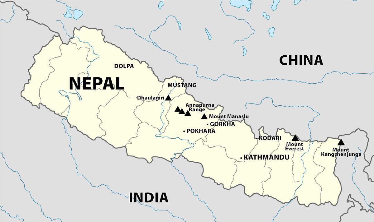 Indien Nepal Kort Indien Nepal Graense Kort Det Sydlige Asien