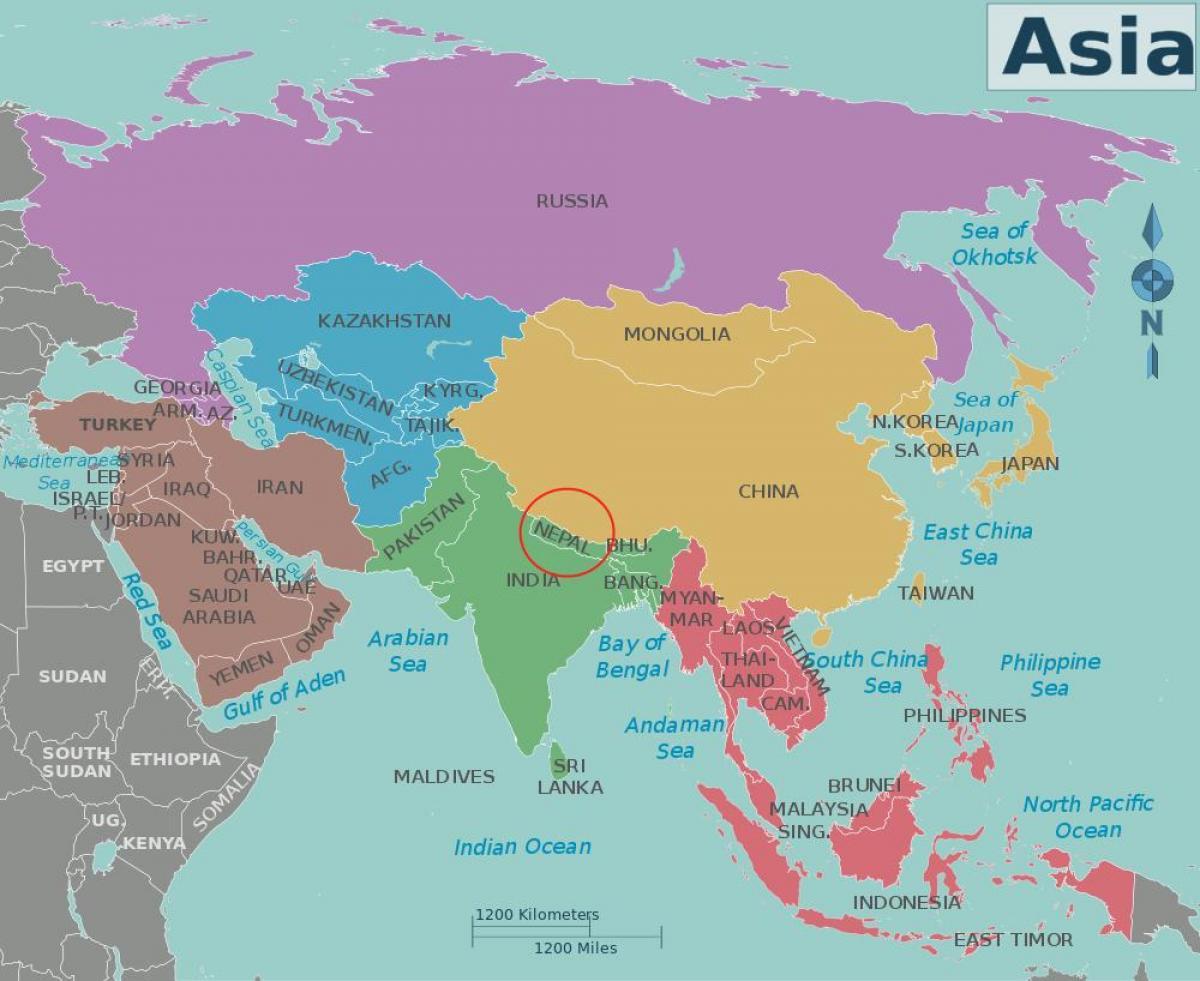 Nepal Land Kort Kort Over Nepal Og De Omkringliggende Lande
